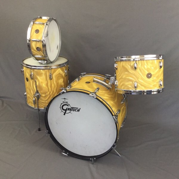Gretsch Gold Satin Flame with factory matched Snare